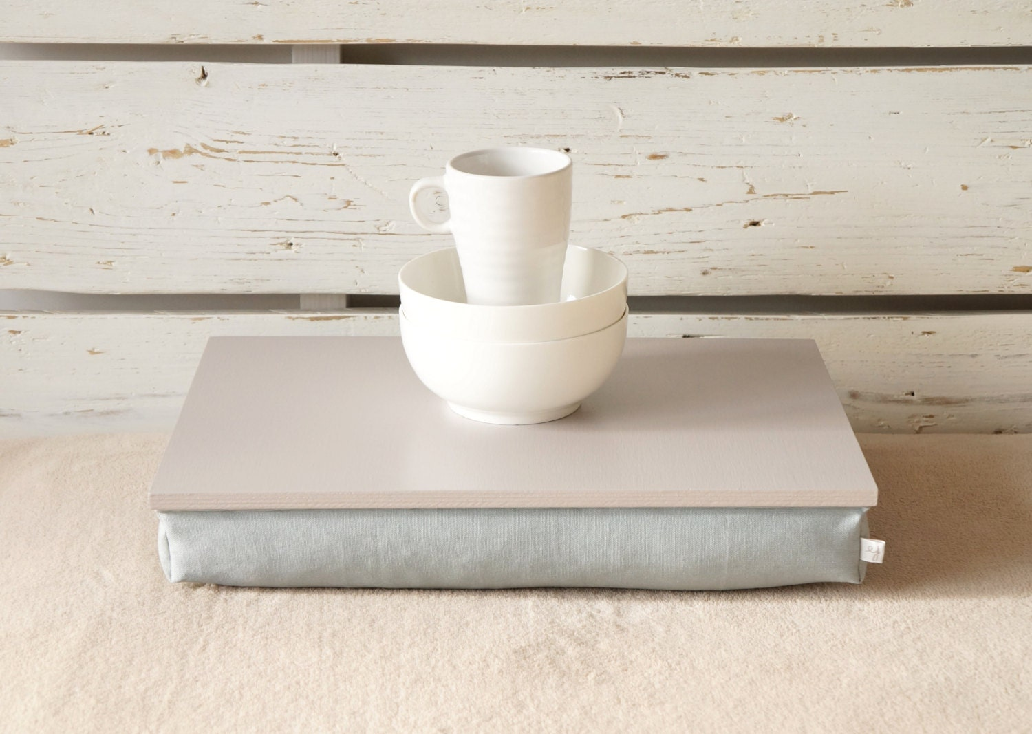 Bed tray with pillow or Laptop Lap Desk Grey with Grey
