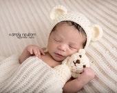 Crochet NEWBORN Teddy Bear Hat and Mini Teddy Bear Photography Prop Made To Order