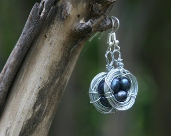Handmade Wire Birds Nest Earrings with 3 Black Pearl 'Eggs'
