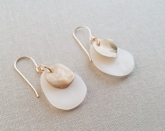 Translucent and Gold Layered Earrings
