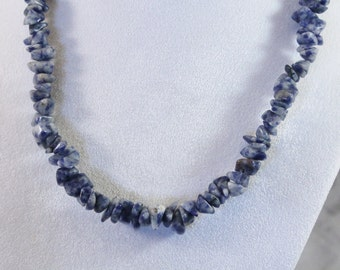 Neat Blue And White Stone / Rock Bead Necklace