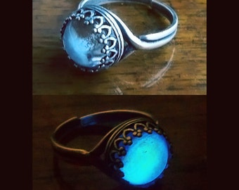 Moonstone -  10mm Silver Plated Glow in the Dark Ring