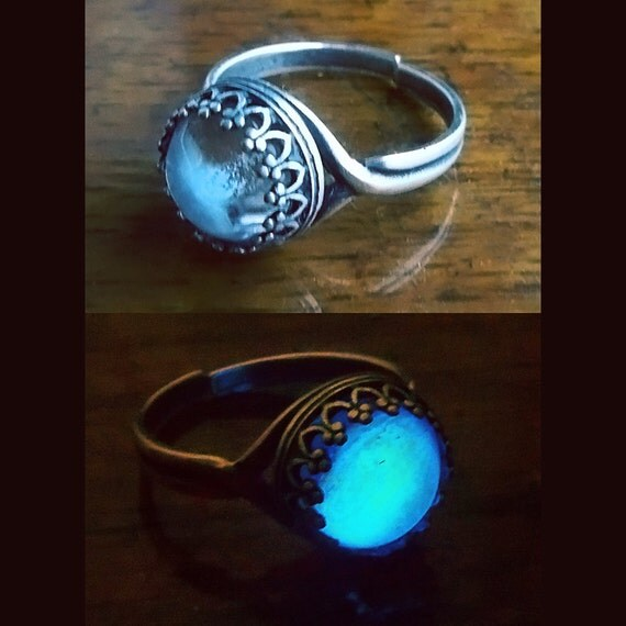 Moonstone 10mm silver plated glow in the dark ring for Glow in the dark wedding rings