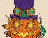 Steampunkin Pumpkin Jack -o- Lantern Embroidered Flour Sack Hand/Dish Towel