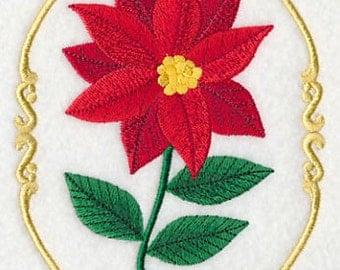 Christmas Poinsettia Cameo Embroidered Flour Sack Hand/Dish Towel