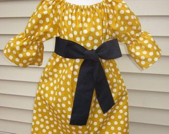 Girls Fall Mustard Yellow Polka Dot Peasant Dress with Sash 6 12 18 24 2T 3T 4T 5/6 7/8 9/10 11/12 13/14