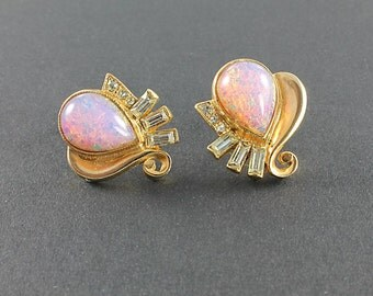 Pink Opal Earrings, Screw Back Rhinestone Earrings, 1940s Hollywood vintage jewelry