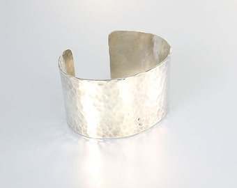 Hammered Silver Cuff Bracelet, Wide Heavy Modernist Sterling Bracelet, vintage jewelry
