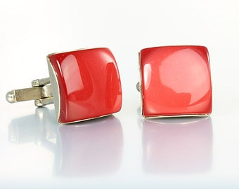 Red Cufflinks, Vintage Mens Moonglow Lucite Cufflinks Jewelry Accessories