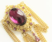 Large Victorian Revival Heraldic Purple Cabochon Swag Chain Brooch Florenza