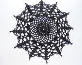 "Black crochet doily , lace doily , round , 10 "", Halloween decor , Halloween doily"