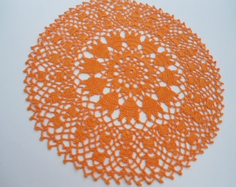 Orange crochet lace doily , 13 '