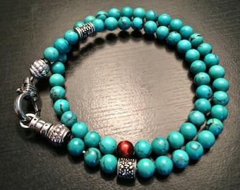 THE JAIME- Mens double wrap beaded bracelet 6mm
