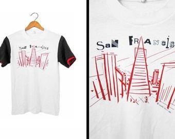 Vintage 80s San Francisco T-shirt Avant Garde Golden Gate Bridge - Small / XS
