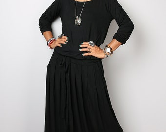Black Maxi Dress -  Long Sleeve dress : Autumn Thrills Collection No.1s (best seller)