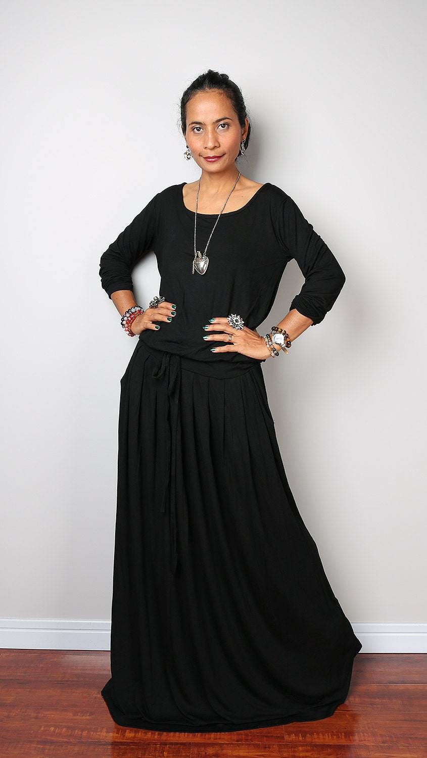 Long Sleeve Black Maxi Dress Cocktail Dresses 2016