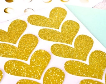 Glitter Heart Stickers. Gold and Silver Pretty stationery Set of 24 - Weddings