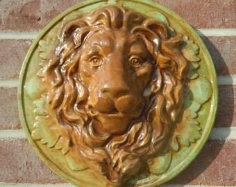 Concrete Lion Face Plaque - stained
