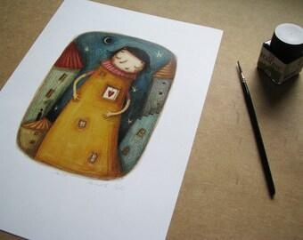 House in girl-original illustration- kid nursery -home decor-A4 print