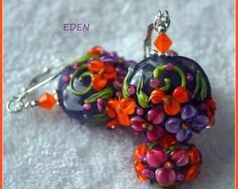 EARRINGS - EDEN - Lampwork Floral Earrings,Dangle Earrings,Glass Earrings,Bead Earrings