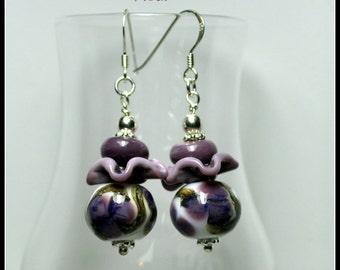 Purple Earrings,Lampwork and Sterling Silver Earrings,Purple Lavender and White Earrings, Flower Earrings,Unique Earrings - FLEUR