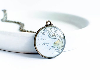 Australia necklace, geography jewellry, old map necklace