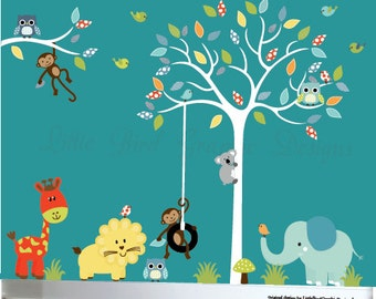 White tree wall sticker owl tree decal jungle set