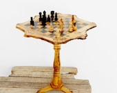 Olive Wood Unique Rustic Chess Set table 21 Inch / Wooden chess board / Birthday Gift / Dad Gift / Boyfriend Gift