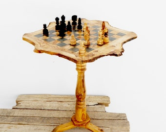 Olive Wood Unique Rustic Chess Set table 18 Inch / Wooden chess board / Birthday Gift / Dad Gift / Boyfriend Gift