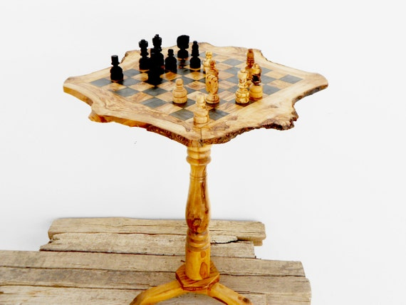 Olive wood unique rustic chess set table 18 inch wooden - Wooden chess tables ...