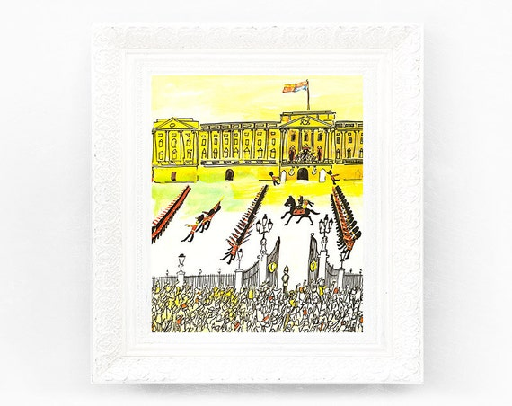 7x8 Vintage Madeline Print. Original French Book Plate Illustration Horse Soldier Buckingham Palace London UK France Paris Ludwig Bemelmans