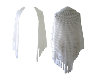 Shawl White Sheer Open Weave Crochet Beach