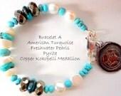 Southwestern Beaded Bracelet With American Turquoise Freshwater Pearls Pyrite Kokopelli