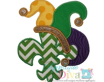 Mardi Gras Jester Hat Fleur de lis Embroidery Design Machine Applique