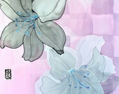 Hand painted Silk Shawl, Gift for her, Japanese Kimono Scarf, Ethereal Lilies, Pink Silk Chiffon, Silk Scarves Takuyo, 22x90 inches.