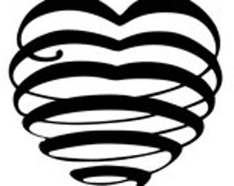 Calligraphy Heart Flourish Decorative Ornate - Digital image - Vintage Art Illustration  - Instant Download