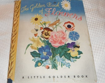 The Golden Book of Flowers by Mabel Witman Vintage A Little Golden Book with Dust Jacket