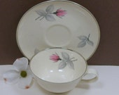Sale Coffee Cup Tea Cup & Saucer Bridal Rose Pink Syracuse China Vintage 1960s
