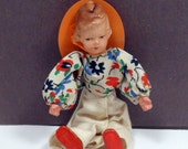 Miniature German Dressed Doll Caco Composition Original Costume Bendable Dollhouse Doll Vintage 1960s