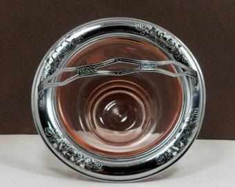 Sale Pink Glass Serving Bowl Basket Chrome Holder Vintage Depression Glass