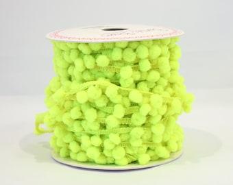 Neon yellow pom pom trim - 5m