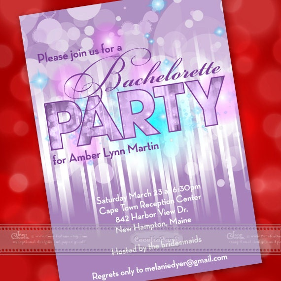 bachelorette party ideas, bachelorette party invitations, purple bachelorette party, bubbles and bridesmaids, graduation party, IN362