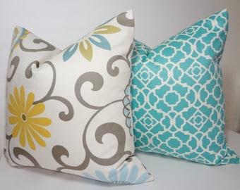 Decorative Pillow Cover Waverly Pom Pom Floral Print & Aqua Lattice Print Pillow Cover Throw Pillow Size 18x18