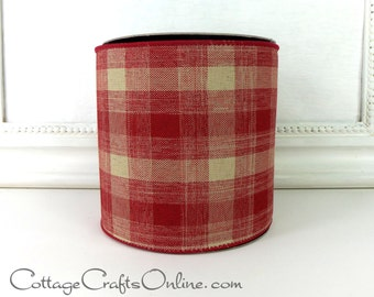 """Wired Ribbon 4"""" Barn Red and Cream Plaid, Faux Linen, TEN YARD ROLL - d. stevens, Plaid Rustic, Prim Craft Christmas Wire Edged Ribbon"""