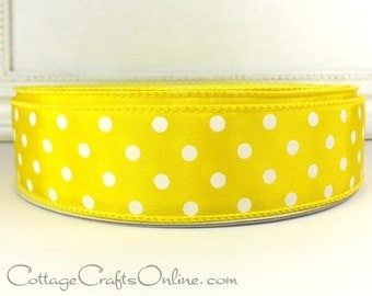 """Wired Ribbon 1 1/2"""", Yellow with White Polka Dots, THREE YARDS, Offray Ribbon, Summer, Spring, Easter, Lemon Yellow Wire Edged Ribbon ff"""