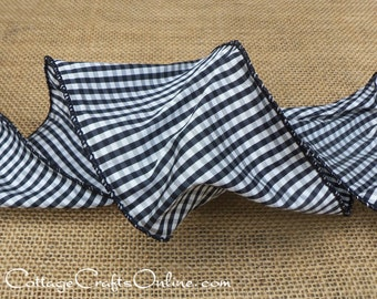 "Wired Ribbon, 4"" Black and White Mini Check Taffeta - TEN  YARD ROLL, d stevens, ""Mini Check 4"" Craft Christmas Wire Edged Ribbon"
