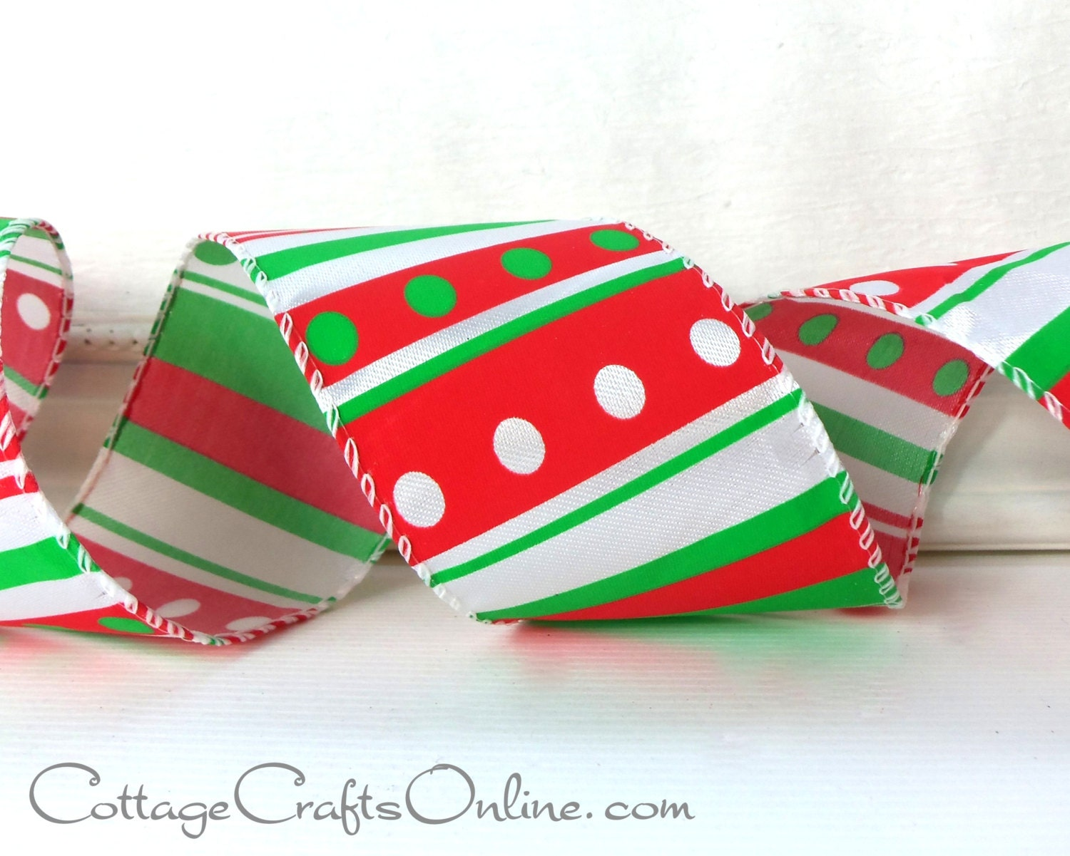 Christmas Wired Ribbon 2 1/2 Red Green by CottageCraftsOnline
