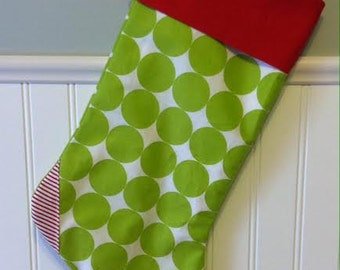 Christmas Stocking - Lime Green Polka  Dots