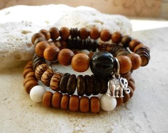 Wood Beaded Stretch Bracelet Trio - Exotic Beaded Stretch Zen Bracelets
