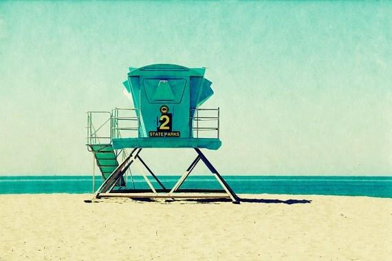 beach photography, lifeguard stand, beach art, santa cruz art, california, vintage style, vacation, ocean - Seabright, 8x12 art print